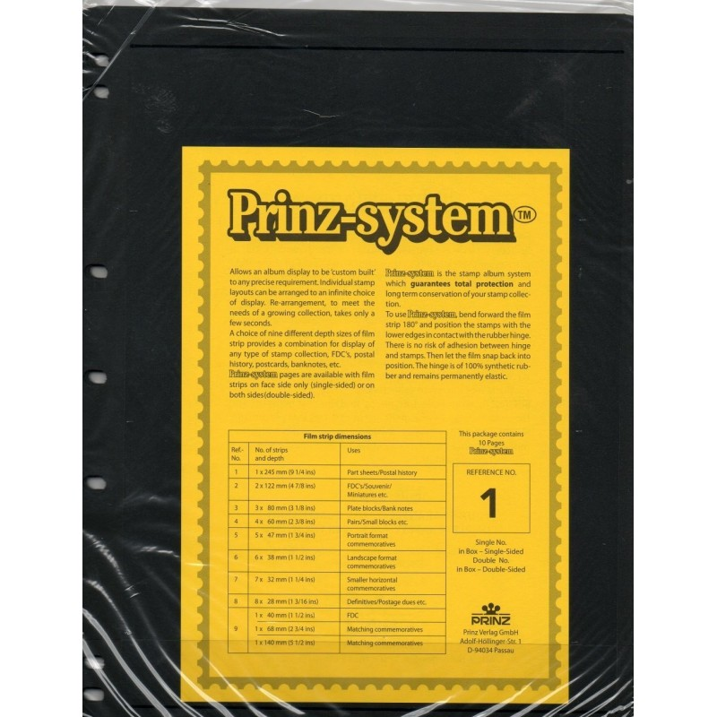 1 strip Prinz System Stock sheets -  single sided 7 hole punched