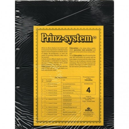 4 strip Prinz System Stock sheets -  single sided 7 hole punched