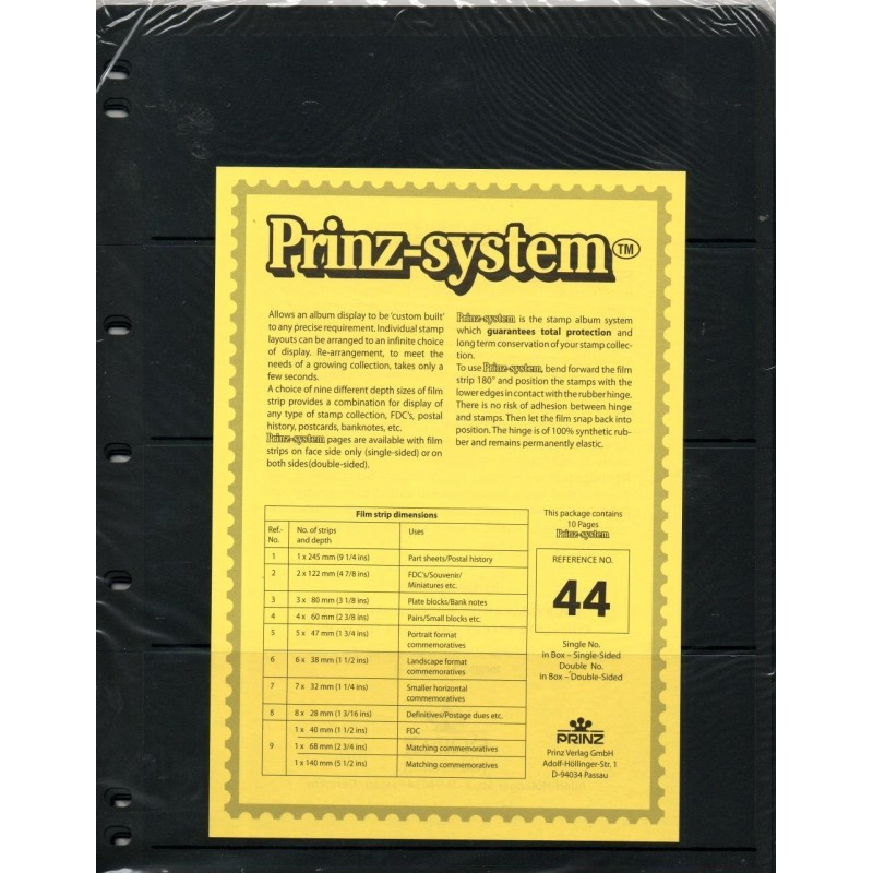 4 strip Prinz System Stock sheets -  double sided 7 hole punched