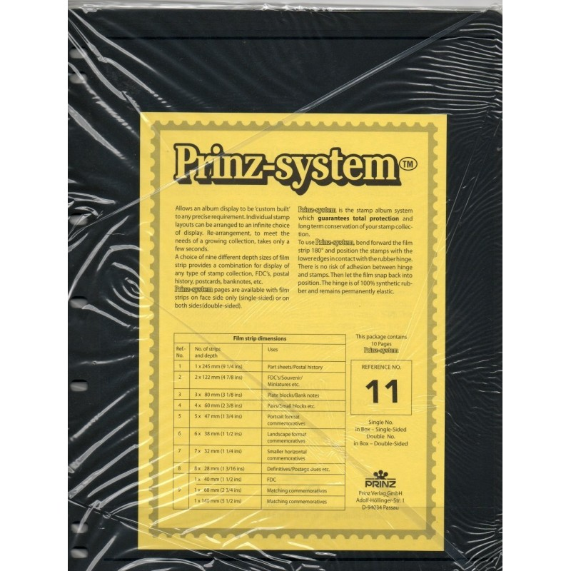 1 strip Prinz System Stock sheets -  double sided 7 hole punched