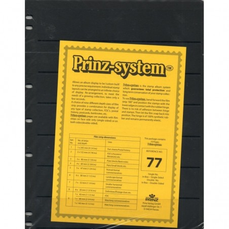7 strip Prinz System Stock sheets -  double sided 7 hole punched