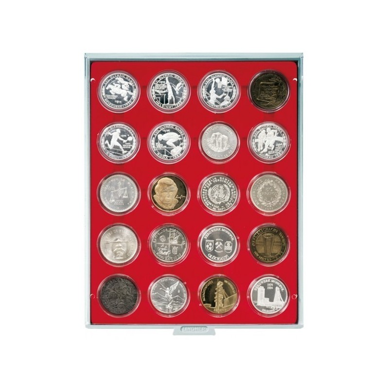 Lindner Coin Box 20 x 48mm compartments for coins in capsules