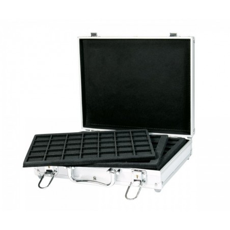 For 210 coins Lindner Alu Coin Carrying case with 6 black trays