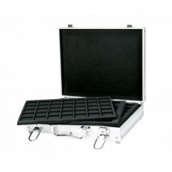 For 144 coins Lindner Alu Coin Carrying case with 6 black trays