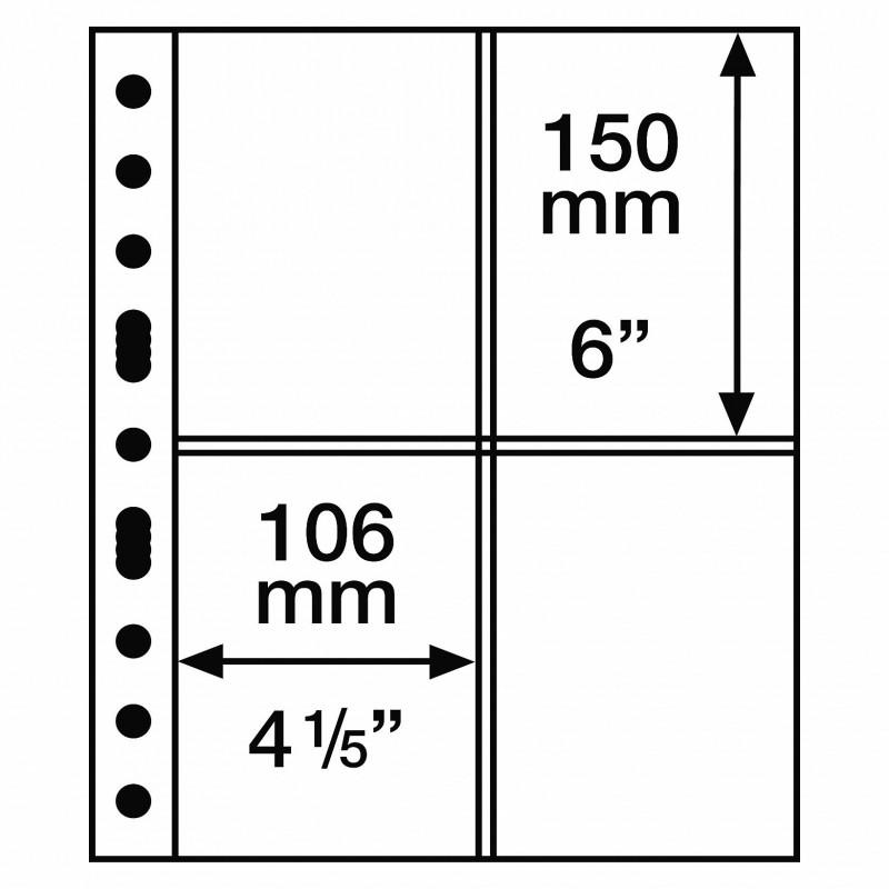 Lighthouse Grande pages - black backed 4 vertical pocket per 5