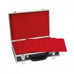Lindner Large Coin Carrying case with 8 assorted red trays