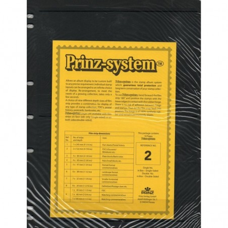 2 strip Prinz System Stock sheets -  single sided 7 hole punched