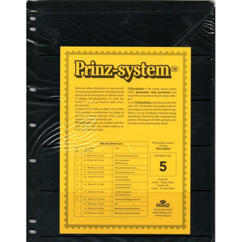 5 strip Prinz System Stock sheets -  single sided 7 hole punched