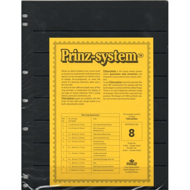8 strip Prinz System Stock sheets -  single sided 7 hole punched