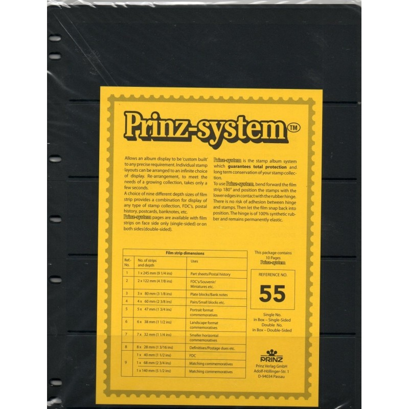 5 strip Prinz System Stock sheets -  double sided 7 hole punched