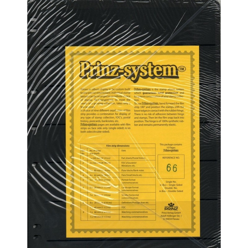 Prinz System Stock sheets - black backed card pages Standard 7 hole punched