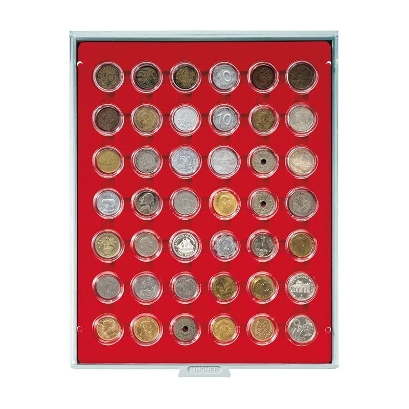 Lindner Coin Box 42 x 29mm compartments for coins in capsules