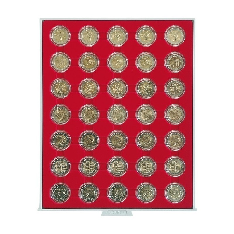 Lindner Coin Box 35 x 32mm compartments for coins in capsules