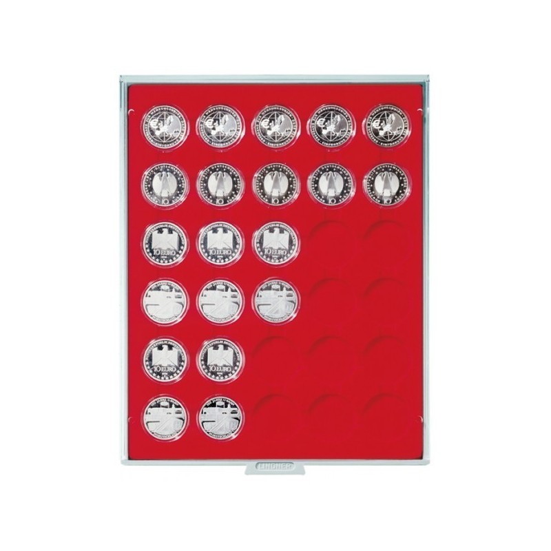 Lindner Coin Box 30 x 37mm compartments for coins in capsules