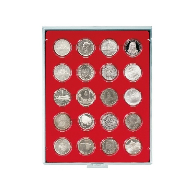 Lindner Coin Box 20 x 42mm compartments for coins in capsules
