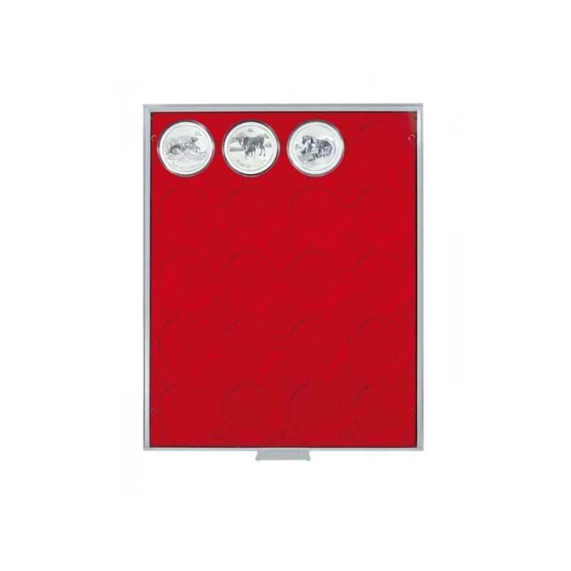 Lindner Coin Box 20 x 49mm compartments for coins in capsules
