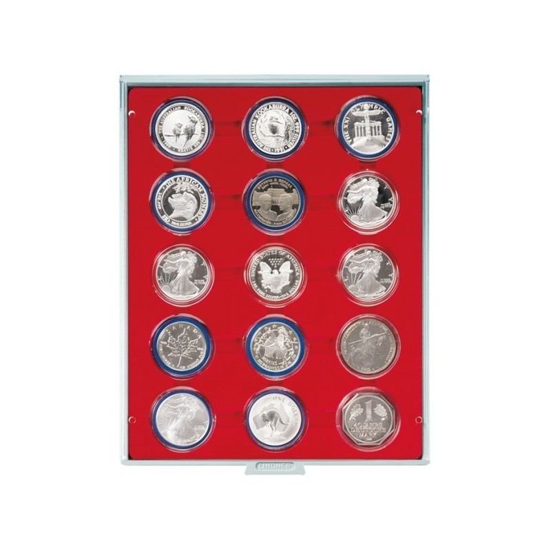 Lindner Coin Box 15x 51mm compartments for coins in capsules