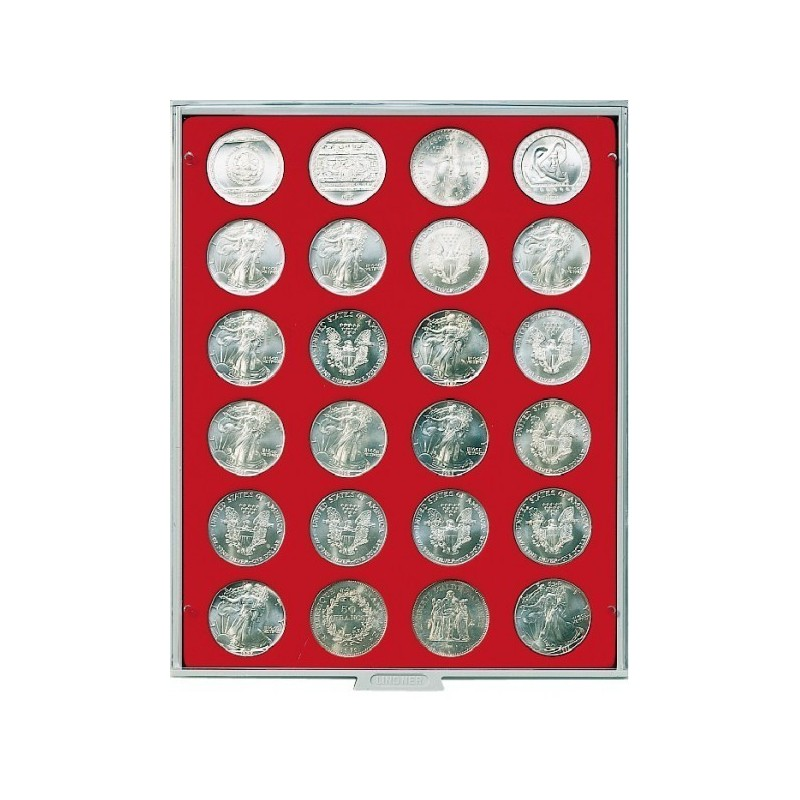 Lindner Coin Box 24 x 41mm round compartments