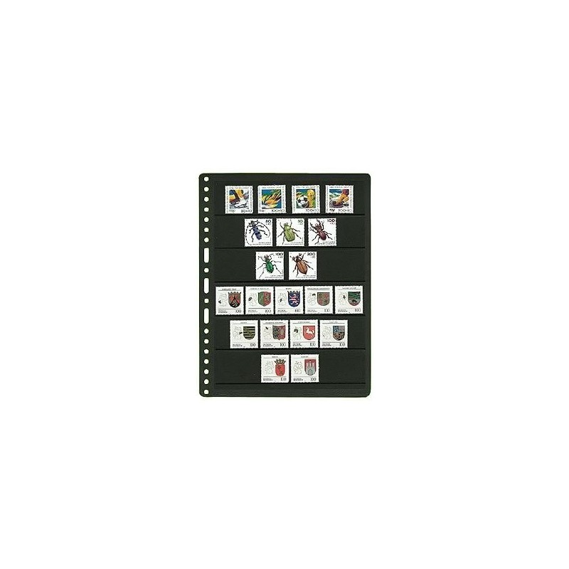 Prinz System Stock sheets - black backed card pages Universal Multi hole punched
