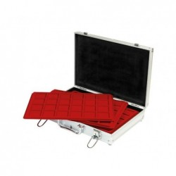 Lindner Alu Coin Carrying case with 5 assorted red trays