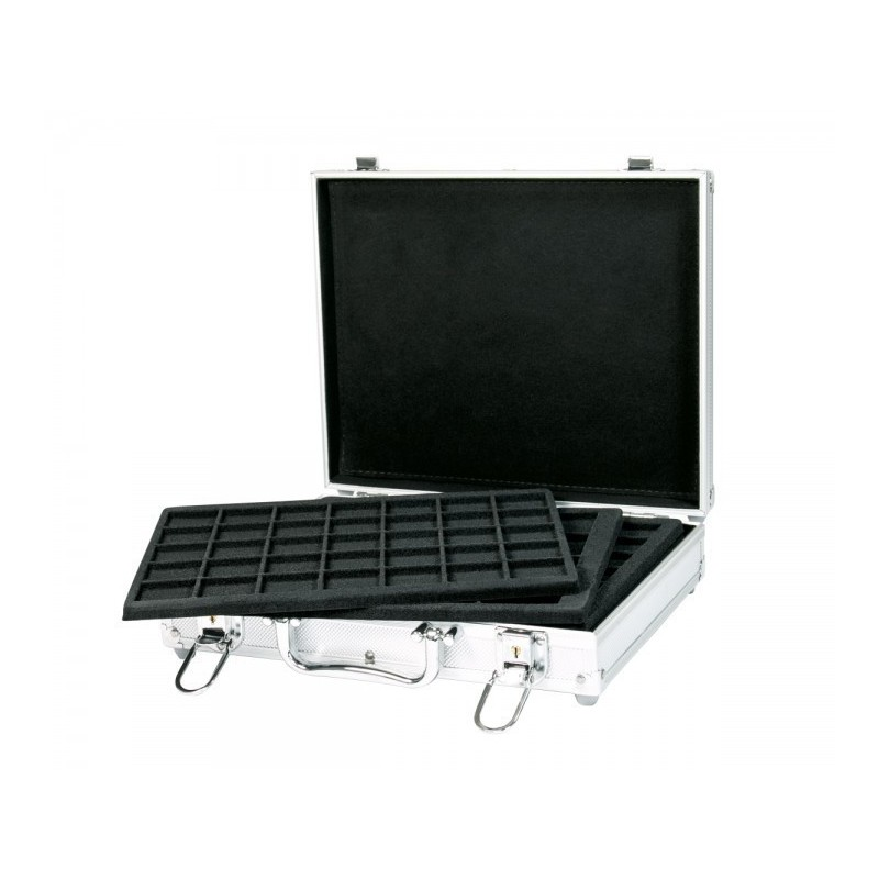 For 180 coins Lindner Alu Coin Carrying case with 6 black trays
