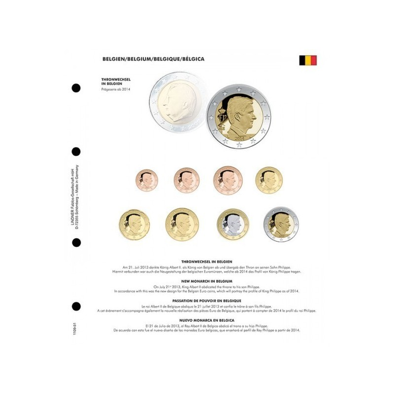 Lindner Illustrated Page Karat with Commentary for Euro Coin Sets