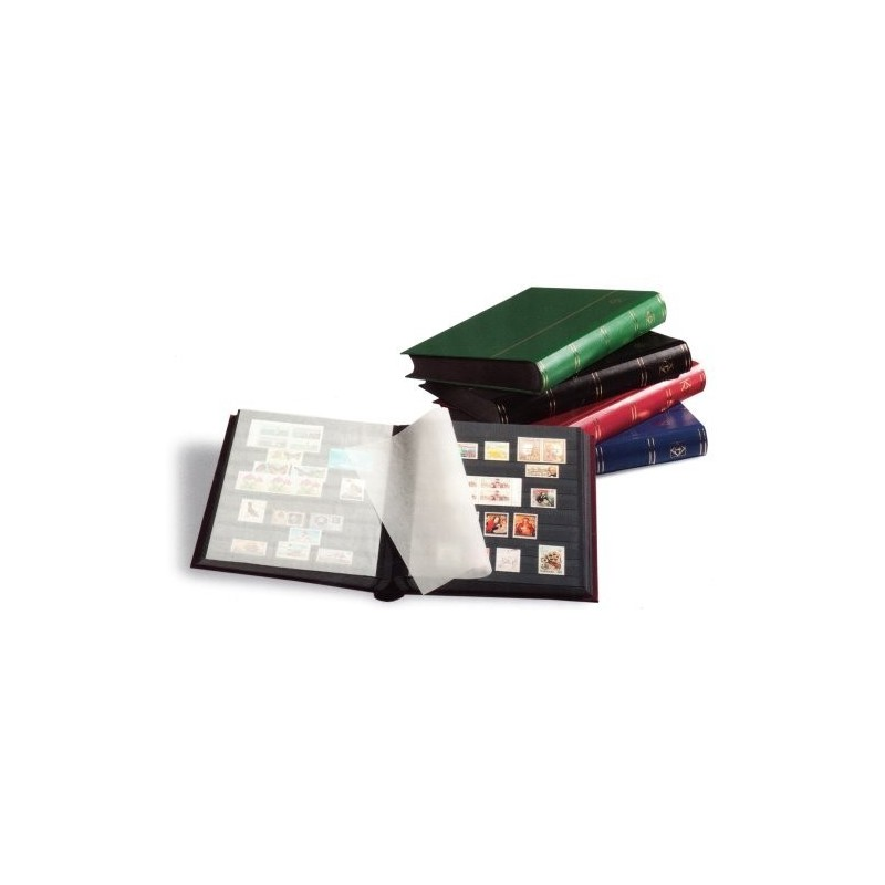 Lighthouse Basic black page stockbooks - choice of sizes